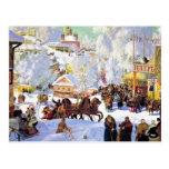 Pueblo ruso en el invierno tarjeta postal