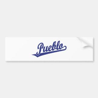 Pueblo script logo in blue car bumper sticker