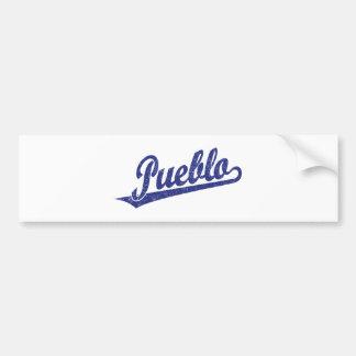 Pueblo script logo in blue distressed car bumper sticker