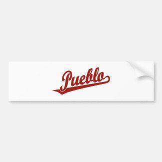 Pueblo script logo in red car bumper sticker
