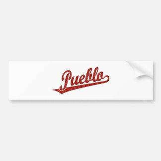 Pueblo script logo in red distressed car bumper sticker