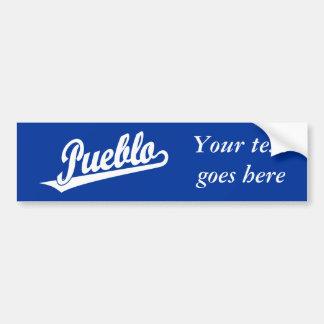 Pueblo script logo in white car bumper sticker