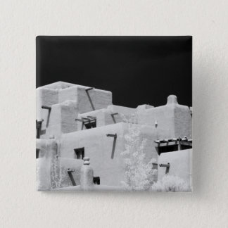 Pueblo style adobe Inn at Loretto, Santa Fe, New Pinback Button
