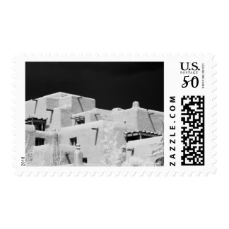 Pueblo style adobe Inn at Loretto, Santa Fe, New Postage
