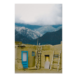 Pueblo Taos & Mountains Poster