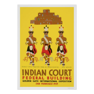 Pueblo Turtle Dancers 1939 WPA Poster