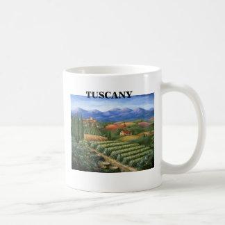 Pueblo y viñedo toscanos tazas de café