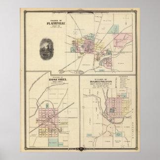 Pueblos de Platteville, de Boscobel y de Darlingto Impresiones