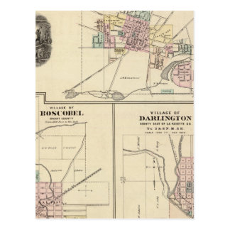 Pueblos de Platteville, de Boscobel y de Darlingto Tarjetas Postales