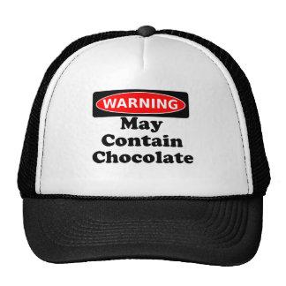 Puede contener el chocolate gorras