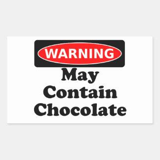 Puede contener el chocolate pegatina rectangular