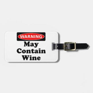 Puede contener el vino etiqueta de equipaje
