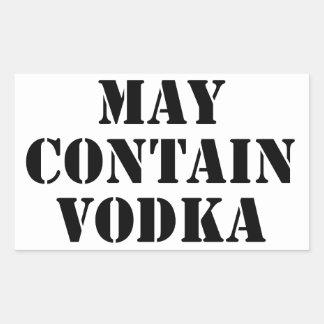 Puede contener la vodka rectangular pegatina