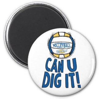 Puede el empuje de U él oro del azul del voleibol Imán Redondo 5 Cm