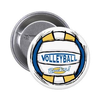 Puede el empuje de U él oro del azul del voleibol Pin Redondo De 2 Pulgadas
