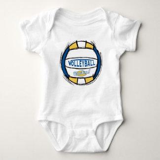 Puede el empuje de U él oro del azul del voleibol Camiseta