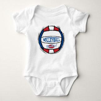 Puede el empuje de U él rojo azul del voleibol Body Para Bebé