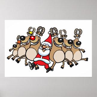 Puede poder el reno y Santa Posters