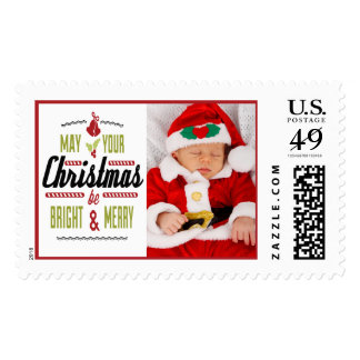Puede su navidad ser foto brillante y feliz timbres postales