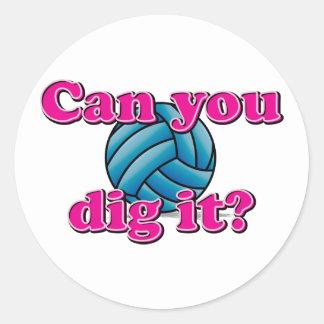 ¿Puede usted cavarlo? ¡Voleibol! Pegatina Redonda