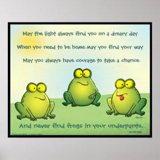 Puede usted nunca encontrar ranas en sus calzoncil póster