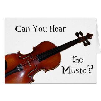 ¿Puede usted oír la música? - Violín Tarjeta De Felicitación