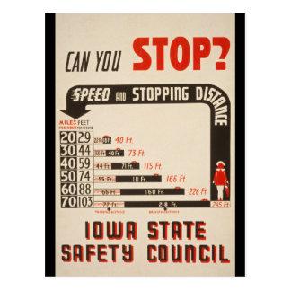 ¿Puede usted parar? Poster de la seguridad en Tarjeta Postal