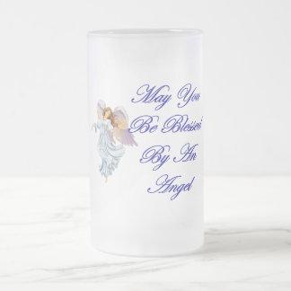 Puede usted ser bendecido por un ángel taza de cristal