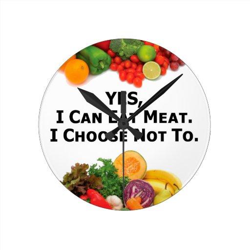 Puedo comer SÍ la carne que elijo no - al vegetari Relojes De Pared