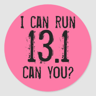 Puedo correr 13,1 -- ¿Puede usted? Etiquetas Redondas