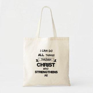 Puedo hacer todas las cosas a través de Cristo Bolsa Tela Barata