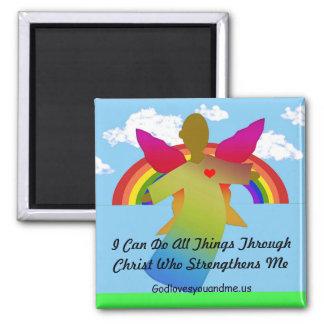Puedo hacer todas las cosas a través de Cristo Imán Cuadrado