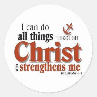 Puedo hacer todas las cosas a través de Cristo Pegatina Redonda