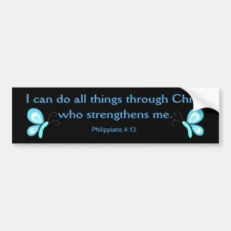 Puedo hacer todas las cosas a través de Cristo Pegatina Para Auto