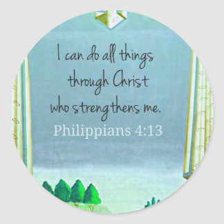Puedo hacer todas las cosas a través de Cristo que Pegatinas Redondas