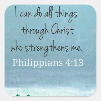 Puedo hacer todas las cosas a través de Cristo que Pegatina Cuadradas