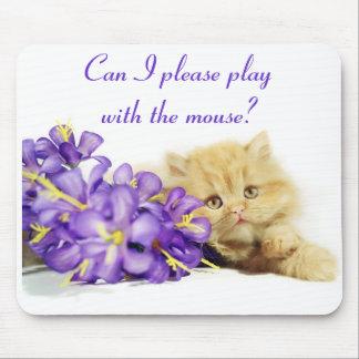 ¿Puedo jugar por favor con el ratón? Gato lindo Mo Alfombrillas De Raton