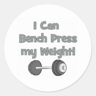 Puedo prensa de banco mi propio peso pegatina redonda