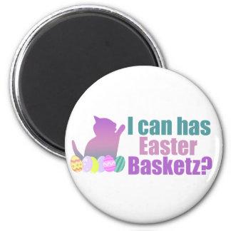 Puedo tengo cesta de Pascua Imán Redondo 5 Cm