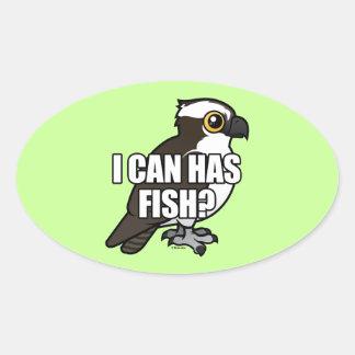 ¿Puedo tengo pescados? Pegatina Ovalada