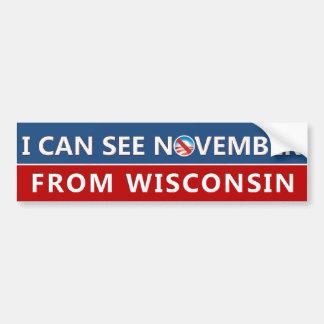 Puedo ver noviembre de Wisconsin Pegatina Para Auto