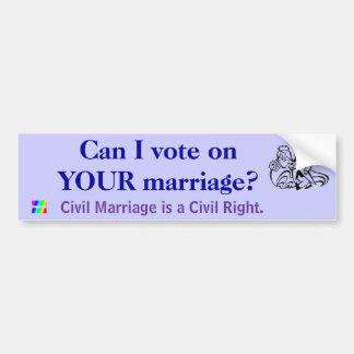 ¿Puedo votar sobre SU boda? Pegatina Para Auto