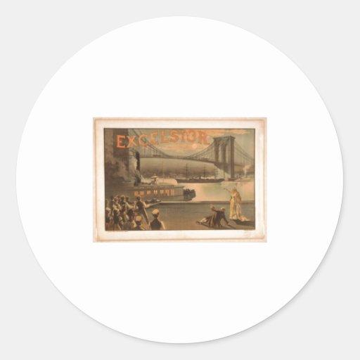 Puente 1883 de Brooklyn de las virutas para Etiquetas Redondas