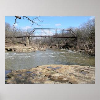Puente 1893 de braguero de Pratt sobre el río de l Póster