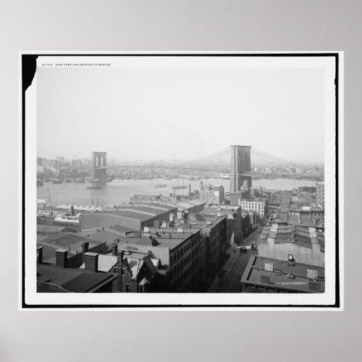 Puente 1904 de Nueva York y de Brooklyn Póster