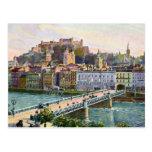 Puente 1916 del estado de Salzburg de la acuarela Tarjeta Postal