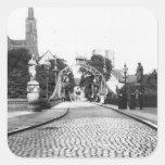 Puente a la catedral, Breslau Polonia, c.1910 Pegatina Cuadrada