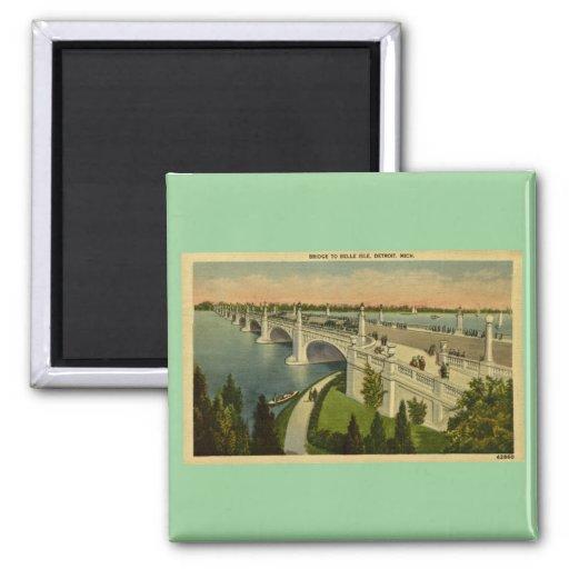 Puente a la isla Detroit, Michigan, vintage de la  Imán Cuadrado