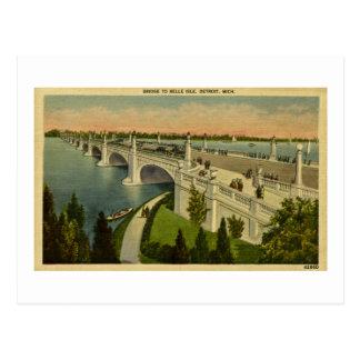 Puente a la isla Detroit, Michigan, vintage de la Tarjetas Postales