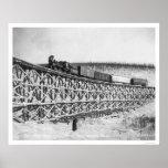 Puente Alaska 1916 del tren de ferrocarril Impresiones